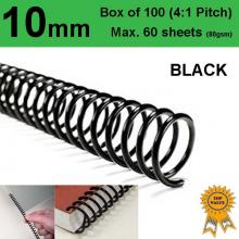 10mm Plastic Spiral Binding Coils - 4:1 pitch (Box of 100)