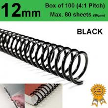 12mm Plastic Spiral Binding Coils - 4:1 pitch Black (Box of 100)