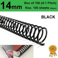 14mm Plastic Spiral Binding Coils - 4:1 pitch Black (Box of 100)