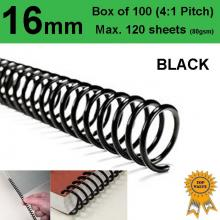 16mm Plastic Spiral Binding Coils - 4:1 pitch Black (Box of 100)