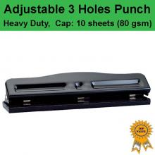 Heavy Duty Adjustable 3 holes Paper Punch Personal Office 10 sheets Capacity