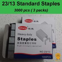 3x1000 pcs, 23/13, Standard Heavy Duty Staples, Refill School Home Office staple