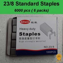 6x1000 pcs, 23/8, Standard Heavy Duty Staples, Refill School Home Office staple