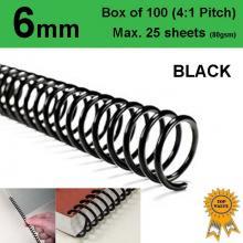6mm Plastic Spiral Binding Coils - 4:1 pitch Black (Box of 100)