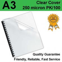A3 Clear Binding Covers 250 Micron (PK 100)