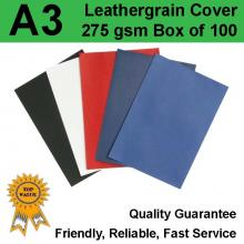 A3 Leathergrain Binding Covers/Backing 300gsm BLACK (PK 100)