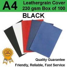 A4 Leathergrain Binding Covers/Backing 230gsm BLACK (PK 100)