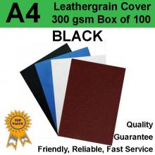 A4 Leathergrain Binding Covers/Backing 300gsm BLACK (PK 100)