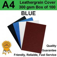 A4 Leathergrain Binding Covers/Backing DARK BLUE 300gsm (PK 100)