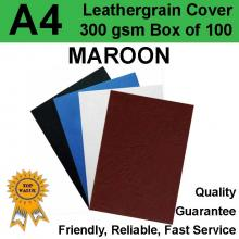 A4 Leathergrain Binding Covers/Backing 300gsm MAROON (PK 100)