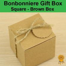Bonbonniere Bomboniere Candy Gift Boxes - Brown Box (50x50x50mm)
