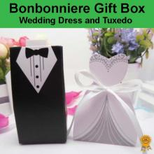 Bonbonniere Bomboniere Candy Gift Boxes - Wedding Dress (White) & Tuxedo Free Postage