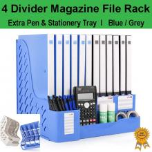 Office Home Organizer 4 Divider Magazine File Rack +Extra Pen & Stationery Tray