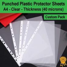 A4 Clear Plastic Punched Pockets Sheet Protectors Cover Files (Medium 40 micron)