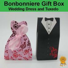 Bonbonniere Bomboniere Candy Gift Boxes - Wedding Dress & Tuxedo (Pink) Free Postage