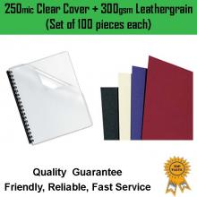 100 sets of 250mic binding cover +300gsm leathergrain