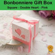 Double Heart Wedding Bonbonniere Bomboniere Candy Gift Box - Pink Free Postage