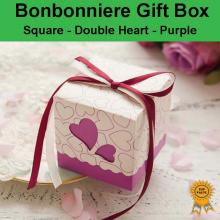 Double Heart Wedding Bonbonniere Bomboniere Candy Gift Box - Purple Free Postage