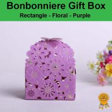 Floral Laser Cut Wedding Bonbonniere Bomboniere Candy Gift Boxes - Purple Free Postage