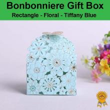 Floral Laser Cut Wedding Bonbonniere Bomboniere Candy Gift Box- Tiffany Blue Free Postage