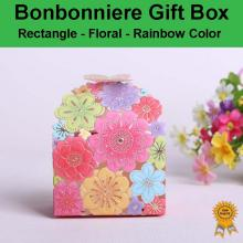 Floral Laser Cut Wedding Bonbonniere Bomboniere Candy Gift Boxes - Rainbow Free Postage