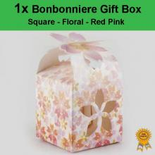 Laser Cut Wedding Bonbonniere Bomboniere Candy Gift Boxes - Floral Red/Pink