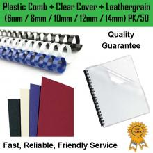 6/8/10/12/14mm binding comb + cover + backing (PK 50)